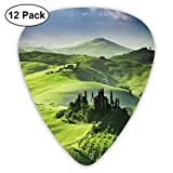 Guitar Picks - Abstract Art Colorful Designs,Sunrise In The Valley Dark Cloudy Sky Landscape Dramatic Pastoral Heaven Print,Unique Guitar Gift,For Bass Electric & Acoustic Guitars-12 Pack