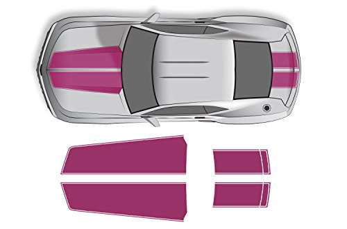 Factory Crafts Hood & Trunk Stripes Graphics Kit 3M Vinyl Decal Wrap Compatible with Chevrolet Camaro 2010-2015 - Pink