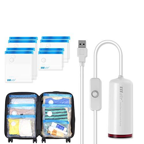 VMstr Borsa per sottovuoto da viaggio con mini aspirapolvere USB, 8 PEZZI (S / M / L / XL) borse salvaspazio di medie dimensioni per viaggiare