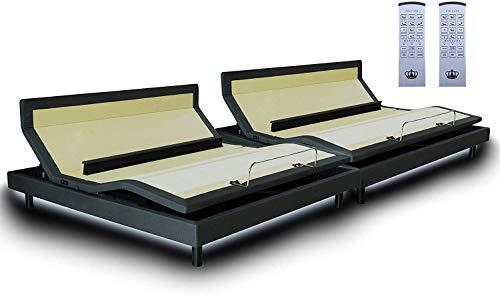 DynastyMattress DM9000s Split King Adjustable Bed Base Frame with Independent Head Tilt, Massage, Zero-Gravity, Bluetooth & USB Ports + Memory Foam Mattress Option