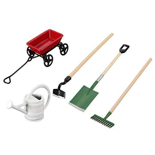 Yuany Gartenschaufel, Set Mini Gartenpflanzenwerkzeuge, Schaufelset Farmgeräte Auto Bewässerungskessel Set 1:12 Puppenhaus Werkzeug Modellzubehör Simulation Pocket Farm Kit