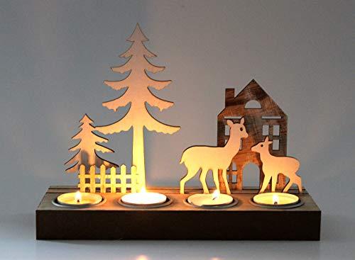 Markenlos Kerzenhalter Kerzenständer Hirsch Weihnachtsdeko Teelichthalter Dekofigur Holz 4er Modern...