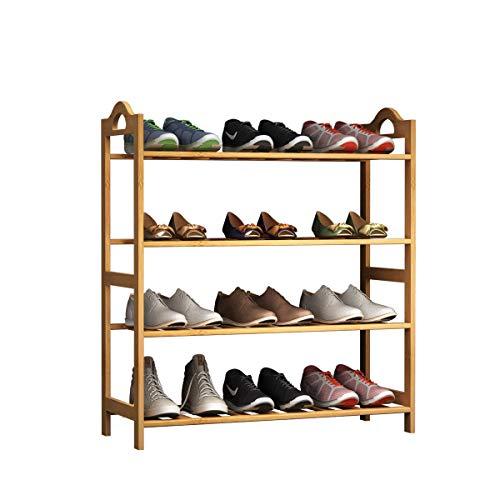 DlandHome HSJ-XJ-4-D - Zapatero de bambú de 4 niveles con asa, estante de almacenamiento para zapatos, estante de almacenamiento, estante de almacenamiento