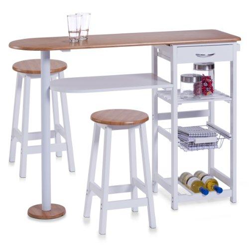 Zeller 13776 - Barra para Cocina con 2 taburetes (Tablero DM, Mesa: 118 x 38 x 89 cm, taburetes: 29 x 29 x 54 cm), Color Blanco y Madera de bambú 🔥