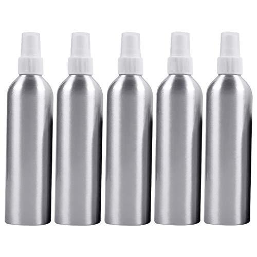 ZHANGJIALI Container-Flaschen Sprühflaschen 5 PCS Mehrweg-Glas feine Nebel Atomizers Aluminium-Flasche, 250ml (Schwarz) (Color : White)