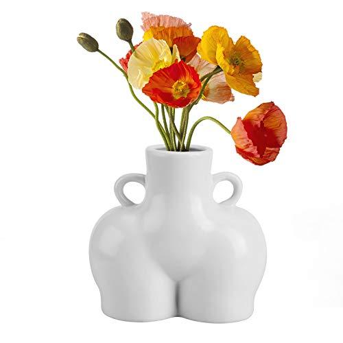 Wisolt Vasi scultura in ceramica, vaso per arte del corpo umano con manici, vaso per fiori in ceramica creativa, vaso per fioriera da interno per ornamento da ufficio domestico, bianco