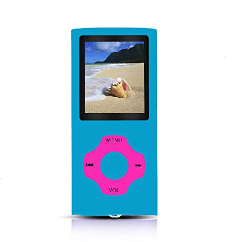 Tomameri - Portable MP3 / MP4 Player with Rhombic Button, Including a 16 GB Micro SD Card and Support Up to 64GB, Compact Music, Video Player, Photo Viewer Supported (cadetblue-on-BrightpinkButton)