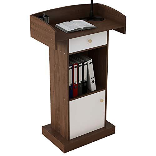 HTYQ Vertikales Podium, Massivholzpodest, einfache und Moderne Rezeption - Doppelablage mit Schubladen, große Tischplatte mit erhöhter Leitplanke, 46 * 10 * 112CM
