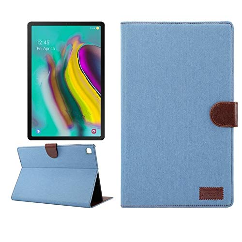 BZN - Funda de piel para Samsung Galaxy Tab A7 T505 con textura de mezclilla horizontal, con soporte y ranuras para tarjetas, cartera, marco de fotos, función de reposo/despertador, color azul claro