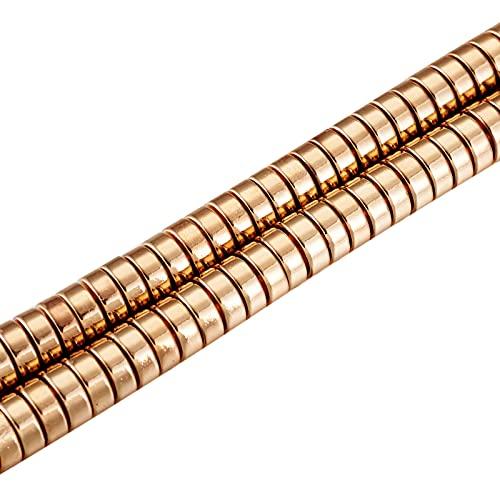 Cheriswelry 170 cuentas planas redondas de hematites no magnéticas de 6 mm, cuentas de disco de piedra sintética Heishi para hacer joyas, oro claro