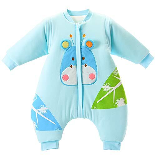 baby Schlafsack langarm winter kinder Schlafsack mit Füßen, Abnehmbare Ärmel,ganzjahres Baumwolle Junge Mädchen unisex Overall Schlafanzug 3.5tog, S Größe:80(0-12 Monate)