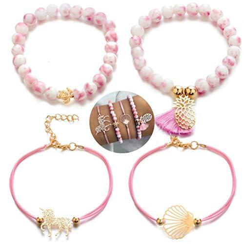 4 teiliges Armband Set | Bohemian Indi Style | Verstellbar | Gold Rose Pink | Modeschmuck Glitzer Herz Welt Armreif Frau Mädchen Kunstperle Muschel Ananas Einhorn Schildkröte