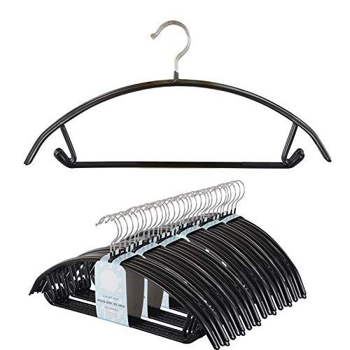 Voilamart Bump Free Clothes Hangers 30 Pack, Non Slip Dry Wet Hangers, No Shoulder Bump Suit Hangers with Bar Hooks for Men Women Dress Coat Pant Closet Organizer-Steel