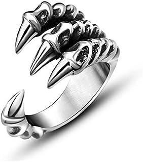 أنثى خاتم الرجال الدومينو خاتم حاد شخصية مخلب الذيل الدائري افتتاح مجوهرات الفضة