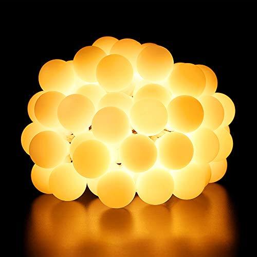 BrizLabs 50 LED Kugel Lichterkette Batteriebetrieben 5M Stimmungslichter Globe Partybeleuchtung Außen, 8 Modi Innenbeleuchtung Sternlicht für Weihnachten Zimmer Hochzeit Party Deko, Warmweiß