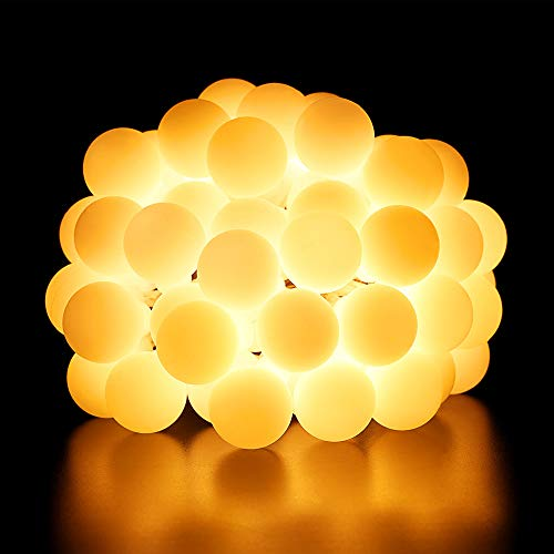 BrizLabs Cadena de Luces 50 LED Guirnalda Luces Batería 8 Modos con Temporizador, Blanco Cálido Resistente al Agua Luces de Bola de Navidad para Exterior, Interior, Casas, Boda, Jardín, Fiesta