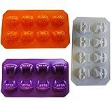 Halloween Ice Cube Molds 3 Trays - Skull Ice Cube Mold, Pumpkin, Vampire Teeth - Great for Halloween Candy Molds, Jello Shots, Chocolate by 4E's Novelty