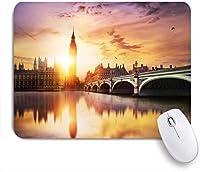 ECOMAOMI 可愛いマウスパッド ビッグベン国会議事堂ウェストミンスター橋夕暮れロンドン建築都市景観 滑り止めゴムバッキングマウスパッドノートブックコンピュータマウスマット