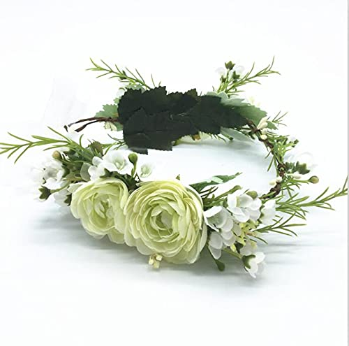 Accesorios para el cabello para novia, corona de flores, novia, boda, fiesta, accesorios para el cabello, diadema de flores para niñas, guirnaldas florales para mujeres tocado (color: rosa)
