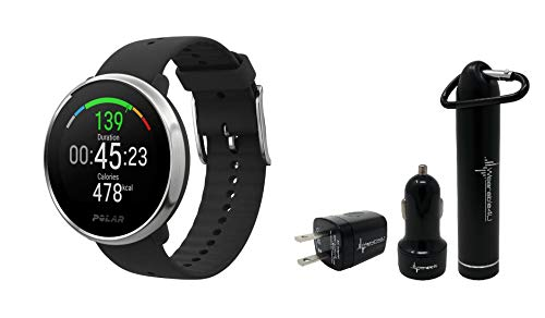 Polar Ignite Waterproof GPS Fitness Watch with Advanced Wrist-Based Heart Rate with Included Wearable4U Power Pack Bundle (S (130-185 mm), Black/Silver)