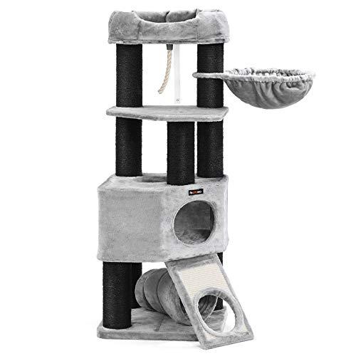 FEANDREA Kratzbaum groß, Katzenbaum mit Flauschiger Aussichtsplattform, Liegemulde und Kuschelhöhle, Katzenturm, extra Dicke Stämme komplett mit schwarzem Sisal umwickelt, stabil, hellgrau PCT02W