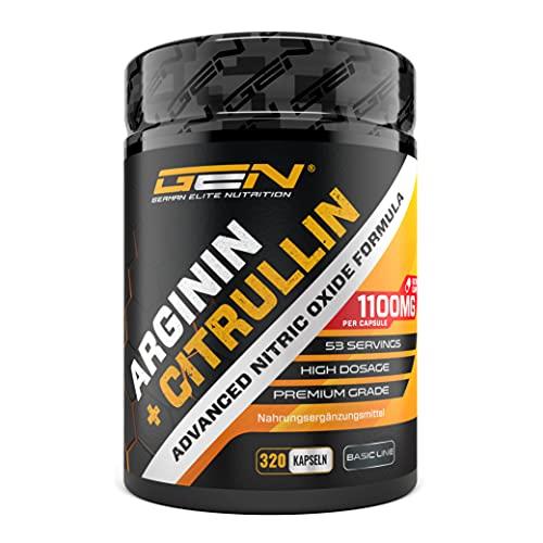L-Arginine + L-Citrulline - 320 gélules - 1100 mg par gélule - Citrulline + Arginine Base en ratio 1:1 - Acides aminés de qualité supérieure