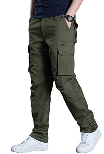 KEFITEVD Cargo Hose Männer Arbeitshose Taktisch Hose Bundeswehr Hose Herren Freizeithose Multi Taschen Stoffhose Outdoorhose Gerade Beine Frühling Dunkeloliv 38 (Etikett: 3XL)