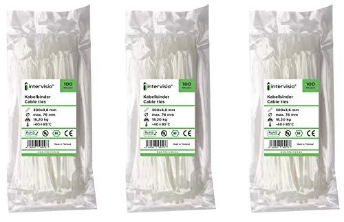 intervisio Bridas de Plastico para Cables 300mm x 3,6mm, Blanco, 300 Piezas
