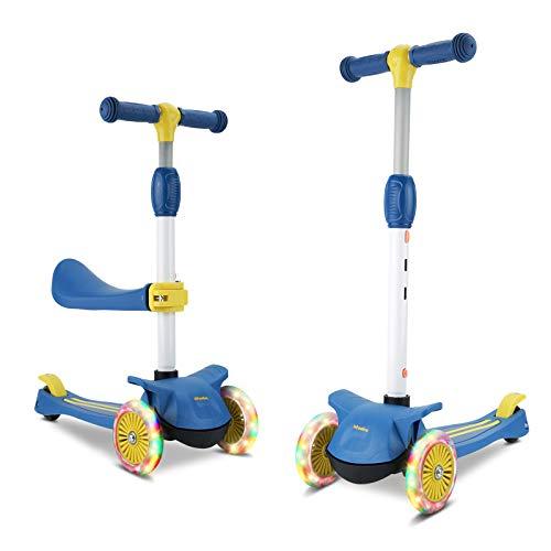 Wheelive 3-in-1 Kick Scooter mit abnehmbarem Sitz, 4 höhenverstellbaren und faltbaren Design Kleinkind-Scootern Sitzen oder Stehen mit 3 LED-Rädern für Jungen und Mädchen im Alter von 2 bis 10 Jahren