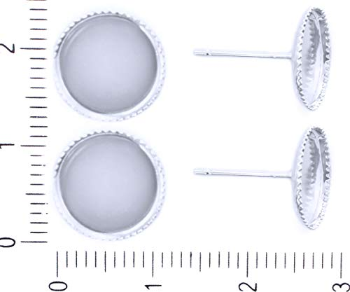 6pcs Silber Plattiert Ohrstecker Post Leer, Flach Rund 10mm Cabochon Zähne-Einstellung Cameo-Fach Metall Erkenntnisse