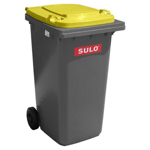 SULO Müllgroßbehälter 240 Liter Mülltonne Abfalltonne | Grau mit Gelben Deckel | Für alle DIN-Klammschüttungen | Made in Germany | Extra Starker Kunststoff | Leise Vollgummiräder | Leicht zu Reinigen | UV-Fest | Rost Fest | Verrottungsfest