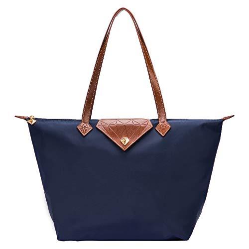 Bojly Bolso de las mujeres, bolso de hombro Bolsos para las mujeres Diamante Nylon Tote Bag Ladies Shopping Plegable Tote Bolsa de viaje de playa Impermeable Casual Azul Grande