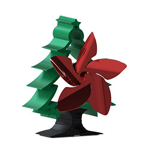 XUMI Ventilador de Estufa con Calor, Ventilador de Chimenea de Estufa de leña de 5 Palas, Ventilador casero Seguro de la Chimenea de la hornilla de Madera del Registro, Diseño De Árbol De Navidad