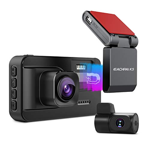 EACHPAI K5 Telecamere per Auto Doppia Camera, 4K WIFI Dash Cam, 3840x2160P, Staffa del GPS integrato, Monitor del Parcheggio 24H, Rilevamento del movimento, Loop-Record e Eccellente Visione Notturna