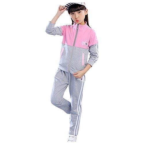 LSERVER Kinder Sportanzug Mädchen Jogginganzug Pullover und Hose Trainingsanzug Sweater Laufhose,Rosa,122/128
