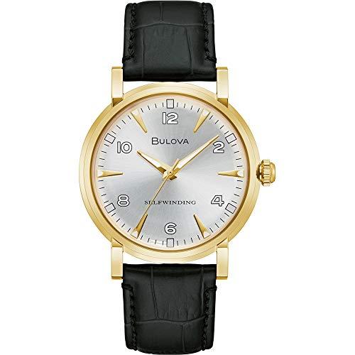 Bulova Herren Analog Automatisch Uhr mit Leder Armband 97A152