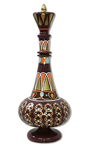 LJ576 I Dream Of Jeannie Genie Hand Painted Mouth-Blown Glass Brown Gold Bottle