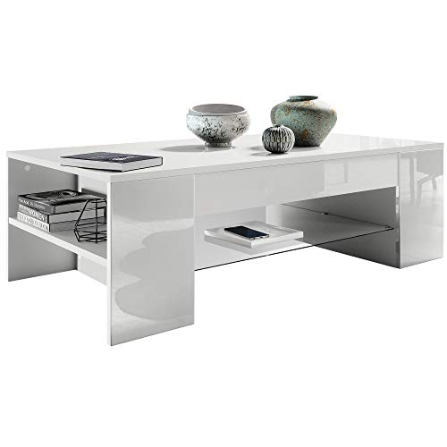 Vladon Coffee Table Side Table Clip in White with Offsets in White High Gloss