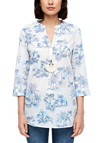 s.Oliver Damen 120.10.006.10.100.2039558 Bluse, Offwhite AOP Palm Trees, 46