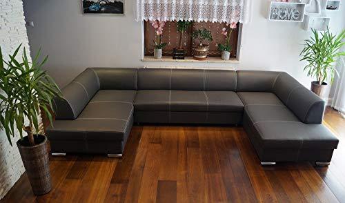 Quattro Meble Super großes Echtleder Ecksofa U-Form London U 185x352x200 Sofa Couch mit Schlaffunktion, Bettkasten Echt Leder Eck Couch Ledersofa große Farbauswahl