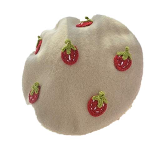 Woman Wool Felt Flat Top Berets Japanese Comfortable Handmade Strawberry Cabbie Hat Casual Warm Lined Newsboy Caps for Girl