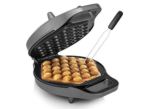 Bubble Waffeleisen für Eierwaffeln Ø20cm Egg Waffle Maker 700Watt mit Waffelgabel zum leichten Entnehmen der Eierwaffeln