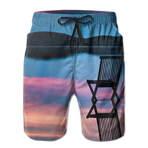 LREFON Pantalones Cortos de Playa de Secado rápido para Hombres Silla en el Lago Paisaje Forro de Malla Surf Bañadores de Tabla de natación con Tasche 2XL