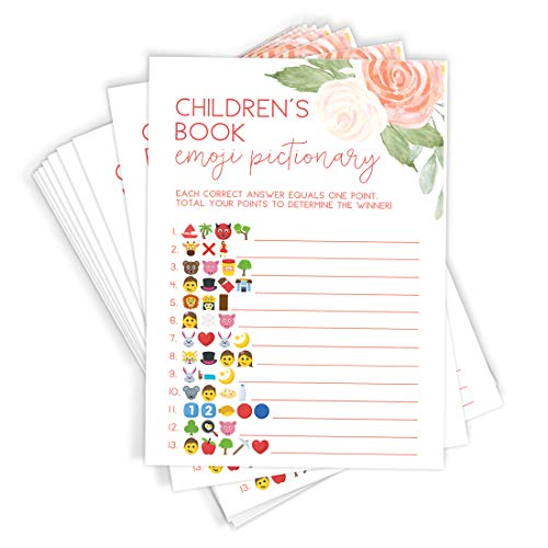 Floral Baby Shower Game Set, Contains 5 Games, 50 Sheets Each, Fun Baby Shower Games & Activities, Includes Baby Prediction and Advice, Emoji, Bingo, Who Knows Mommy, and Guess Who Games