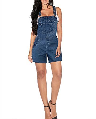Hybrid & Company Jeans Womens Plus Size Denim Shorts Overalls SHVJ98411 Darkwash 18