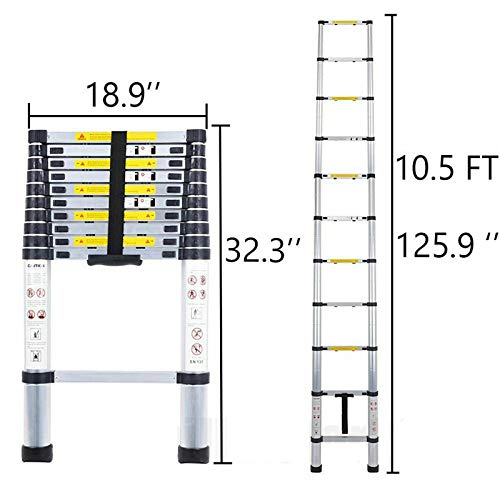 Telescoping Ladder 3.2M 10ft Aluminum Telescopic Extension Multi Purpose Ladder (330 pound/150 kg ,EN131) for Clean Decorate Party Replace The Bulb