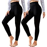 2 Pack Leggings for Women Butt Lift-High Waisted Tummy Control Workout Running Black Yoga Pants