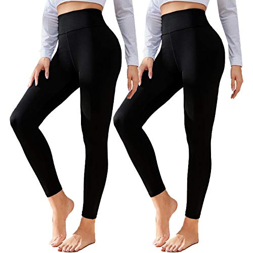 2 Pack Leggings for Women Butt Lift-High Waisted Tummy Control Workout Running Black Yoga Pants