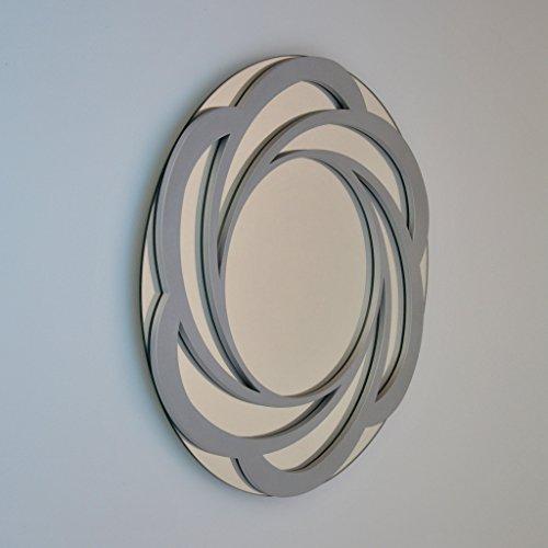 DECOHOGAR.SHOP Miroir Mural Rond - Grande Fleur - 80 x 80 cm - Laqué Blanc