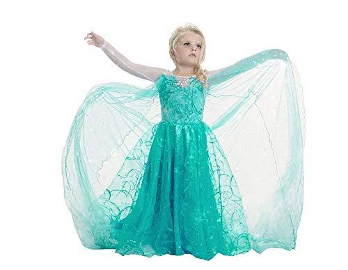 Mntllvrd150 - neues Modell - Elsa Kostüm - Mädchen 9-10 Jahre - Geschenkidee für Weihnachten und Geburtstag